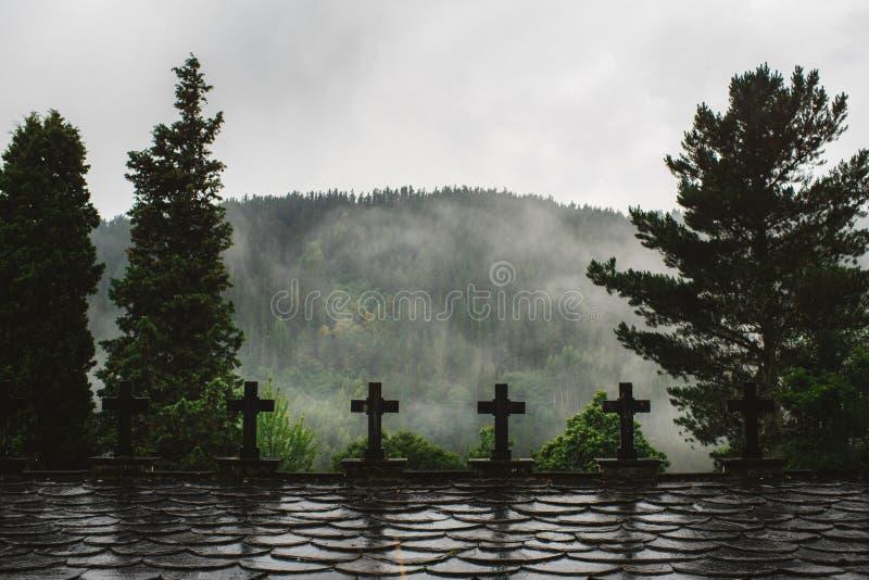 Cruzes na floresta em um dia chuvoso fotos de stock royalty free