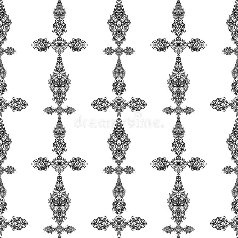 Cruzes religiosas do vintage no teste padrão sem emenda preto e branco, projeto heráldico ilustração royalty free