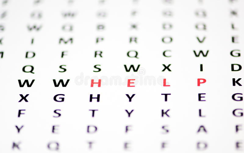 A cry for help. Hidden in a wordsearch stock photos