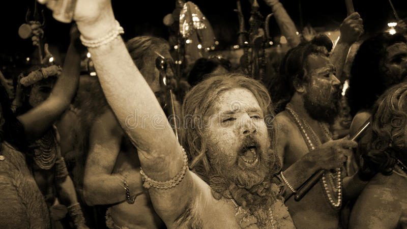 The Cry of Joy!. This image was taken during the last day of Simhastha or Kubh 2016, this was the day for the Holi Dip, when thousands of Sadhus and Naagas come stock images