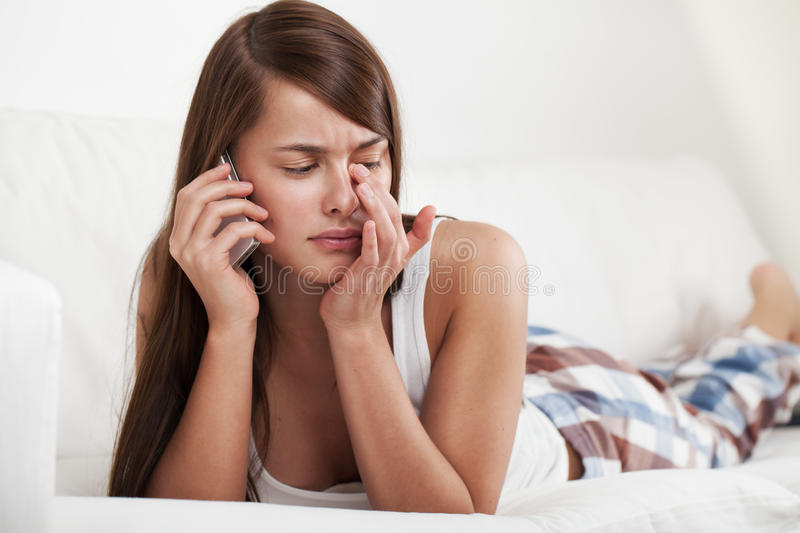 Cry with phone stock images