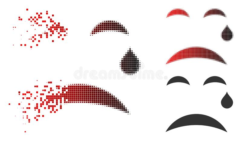Sparkle Pixelated Halftone Cry Smiley Icon. Cry smiley icon in fractured, dotted halftone and undamaged solid variants. Elements are composed into vector stock illustration