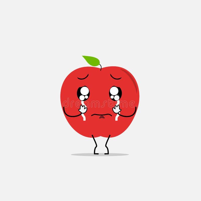 Crying apple simple clean cartoon illustration. Vector stock illustration