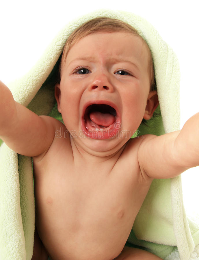 Crying baby boy royalty free stock images