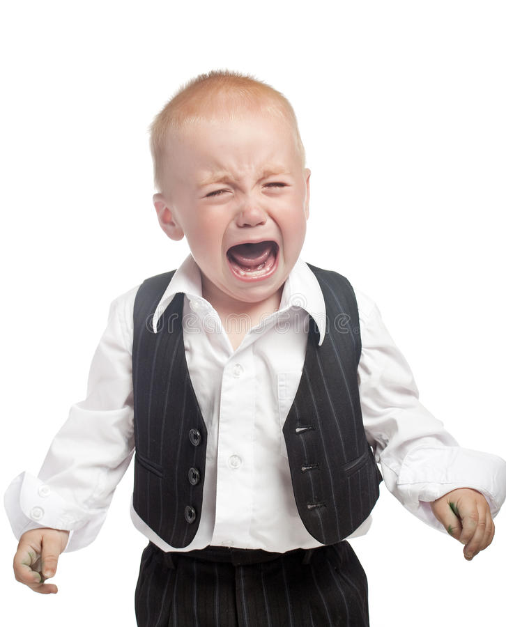 Crying baby boy isolated royalty free stock photos