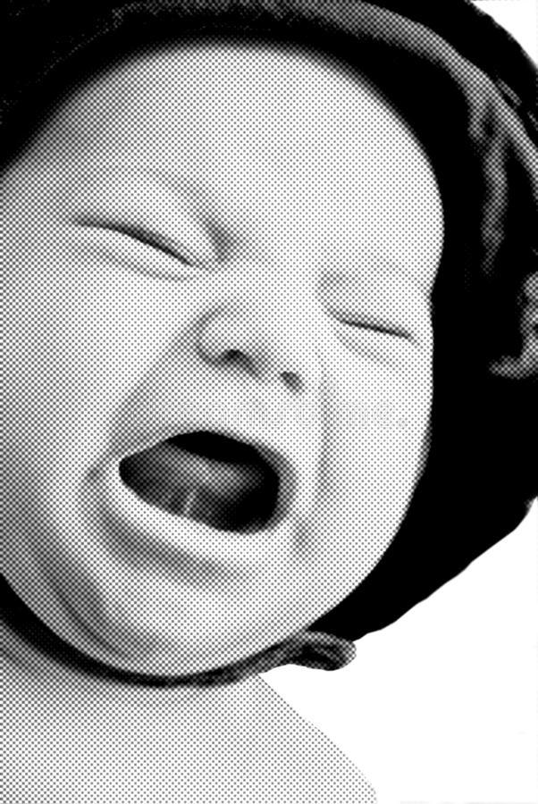Download Crying Baby/Halftone/Black White Stock Image - Image: 10111307
