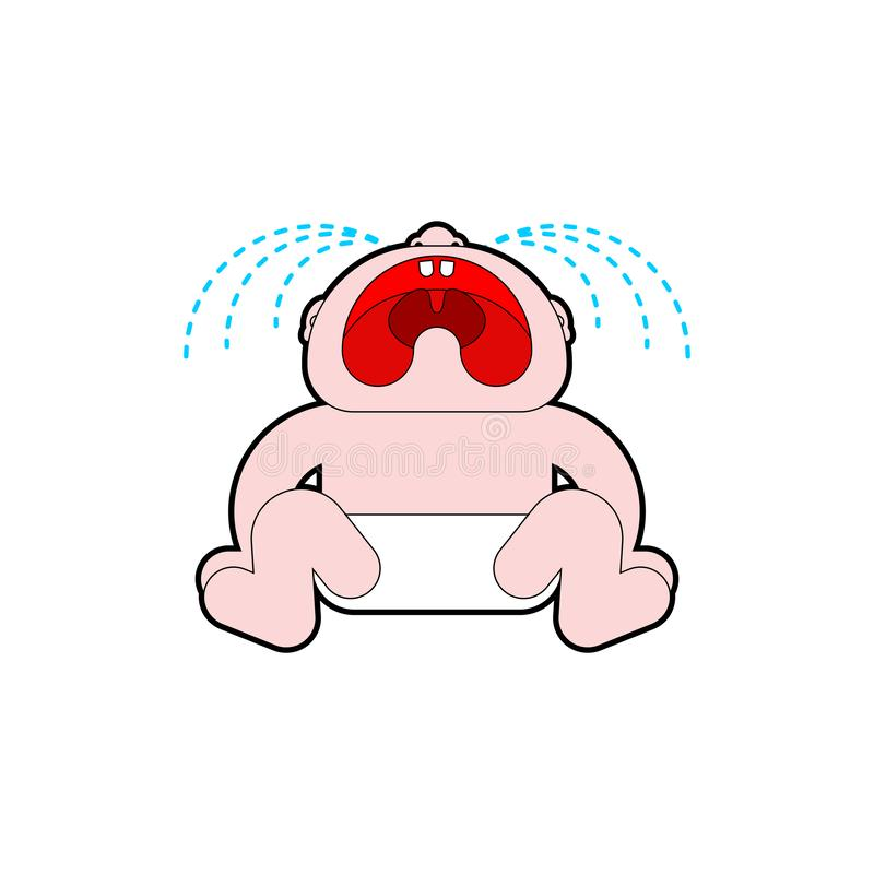 Crying baby isolated. Little child cry. vector illustration stock illustration