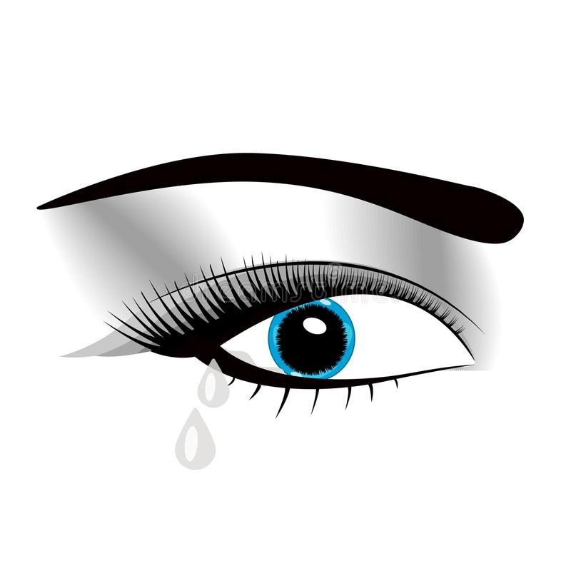 Crying beautiful eyes in anime or manga style with teardrops and light reflections. Highly detailed vector illustration. Emotional. Expression, sadness, tattoo stock illustration