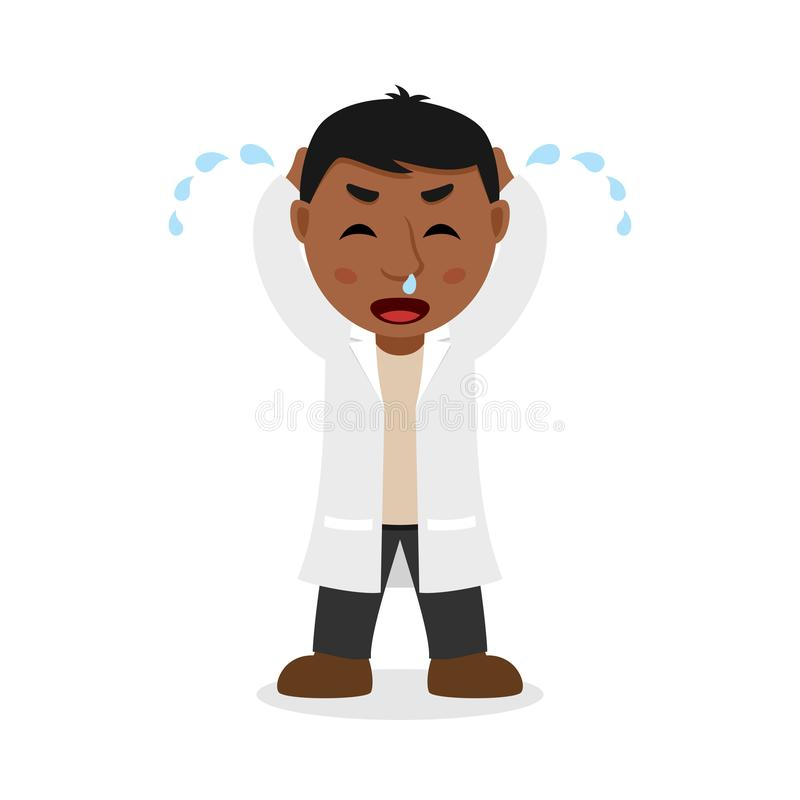 Crying Black Male Doctor Cartoon Character. Isolated on white background. Please check my portfolio for ten versions of the same character with different royalty free illustration