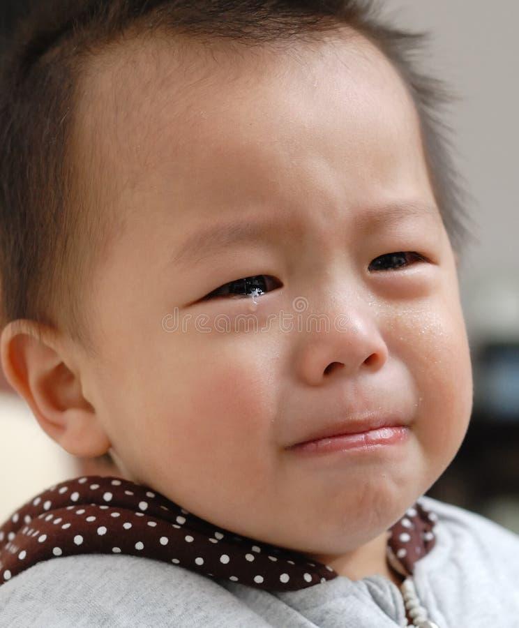 Crying boy face royalty free stock photos