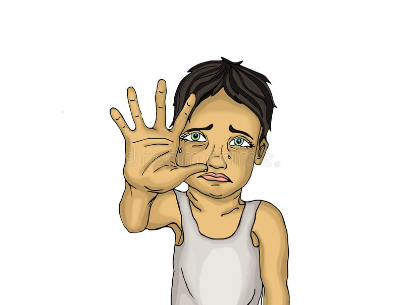 Crying boy, hand signals to stop the violence and pain. royalty free illustration