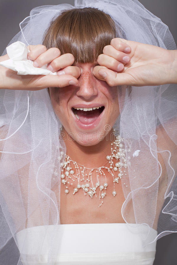 Crying bride stock image