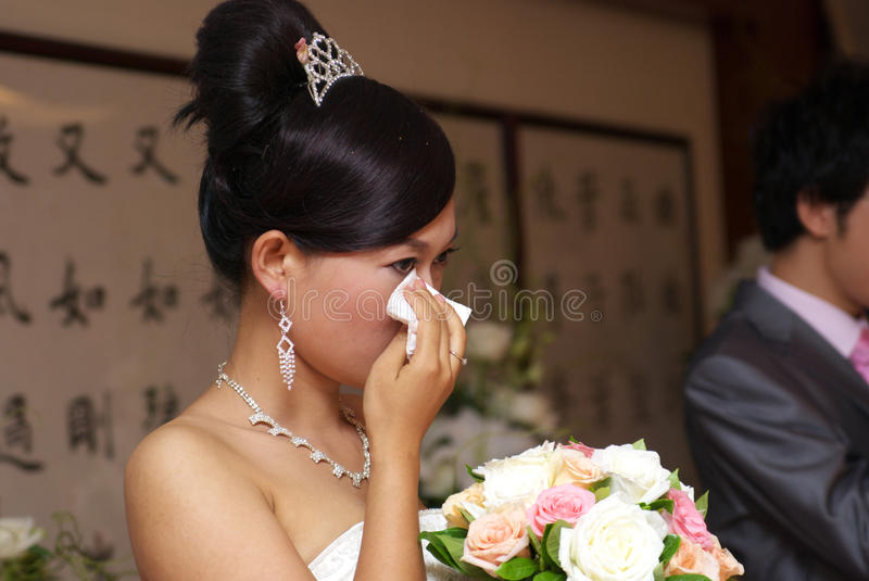 Crying bride stock photography
