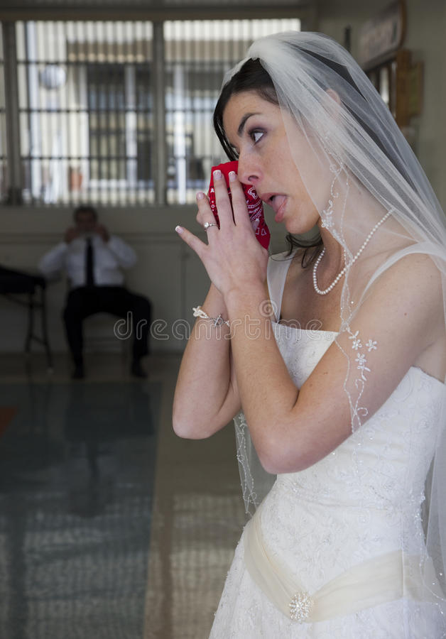 Crying bride royalty free stock photography