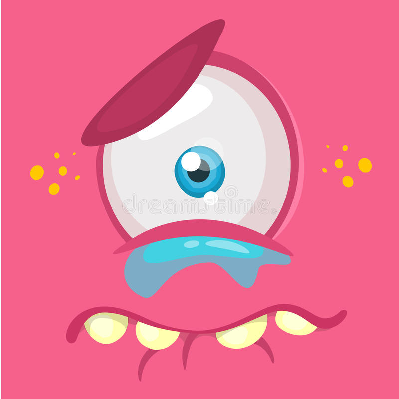 Crying cartoon monster face avatar. Vector Halloween pink sad monster with one eye. stock illustration