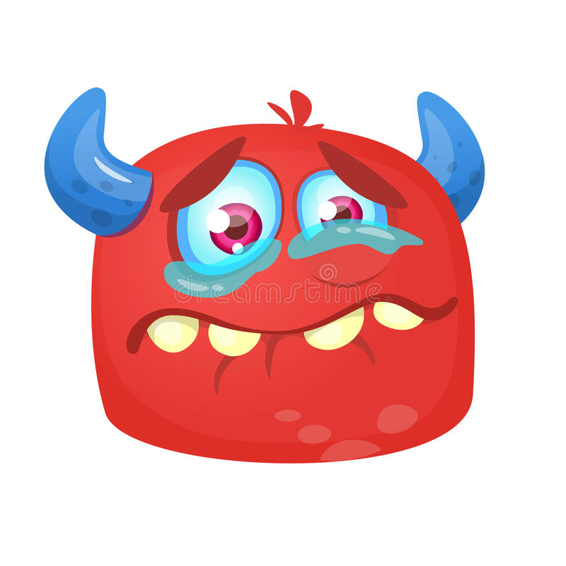 Crying cartoon monster icon. Halloween vector red and horned monster alien sad expression royalty free illustration