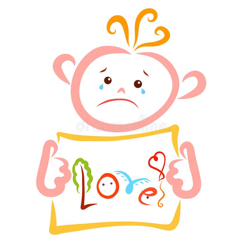 A crying child holding a leaf with the creative word Love royalty free illustration