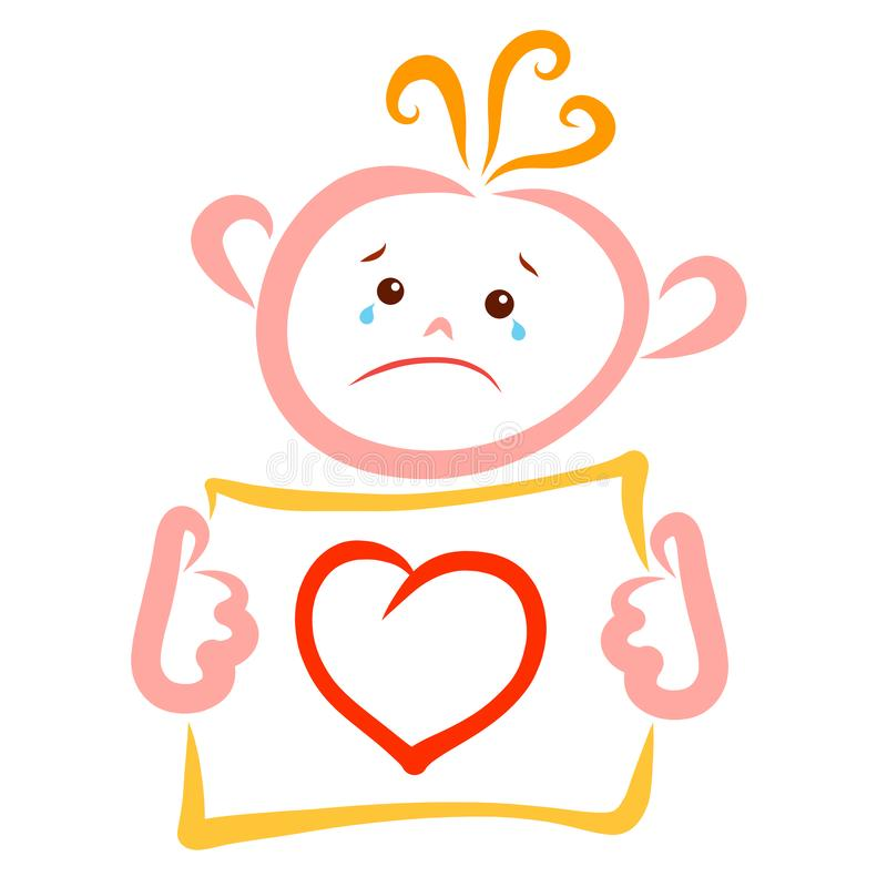 Crying child holding a sheet of paper with a picture of the heart royalty free illustration