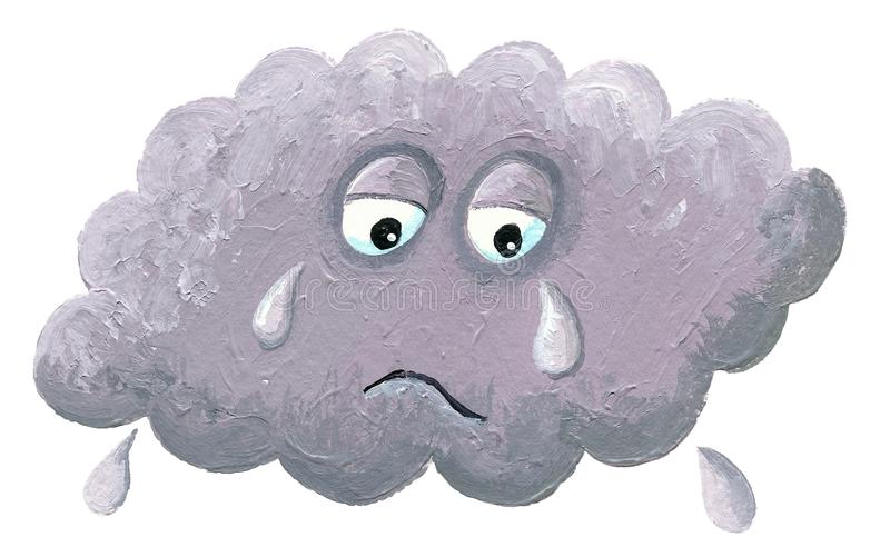 Crying cloud - rainy cloud vector illustration