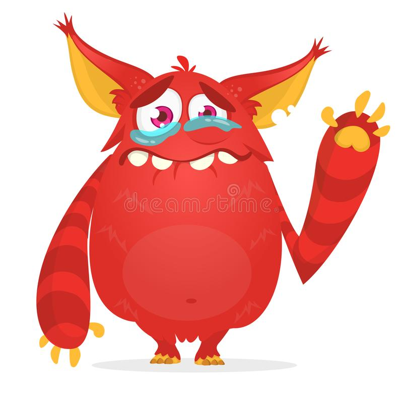 Crying cute monster cartoon. Red monster character. Vector illustration for Halloween. vector illustration