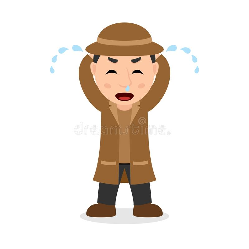 Crying Detective Cartoon Character royalty free illustration