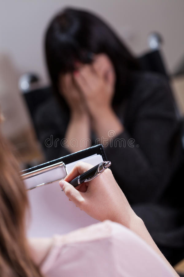 Crying disabled woman stock photo