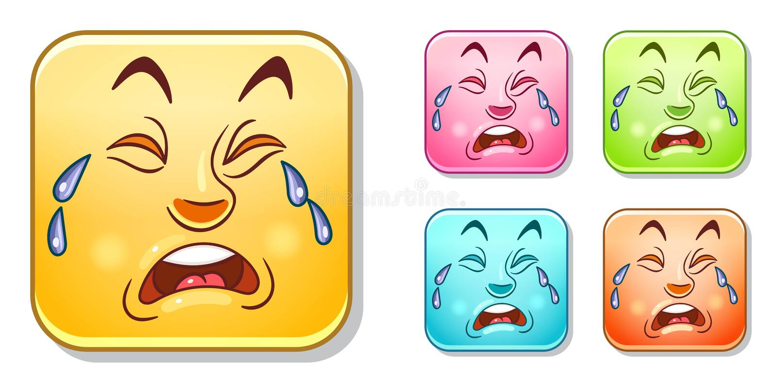 Crying Emoticons Collection stock photography