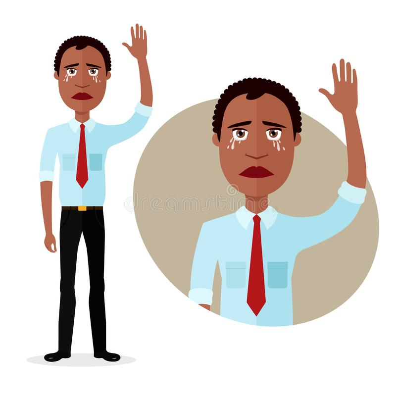 Crying emotion african business man waving hand goodbye vector illustration