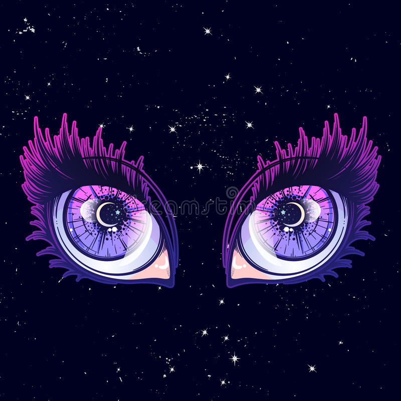 Crying eye in anime or manga style with teardrops and reflections. Highly detailed vector illustration. Crying eyes in anime or manga style with teardrops and royalty free illustration