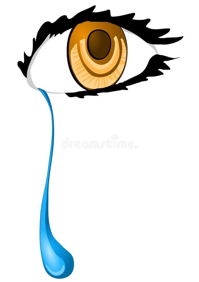 Eye with a tear drop. Crying eye with a tear drop vector illustration