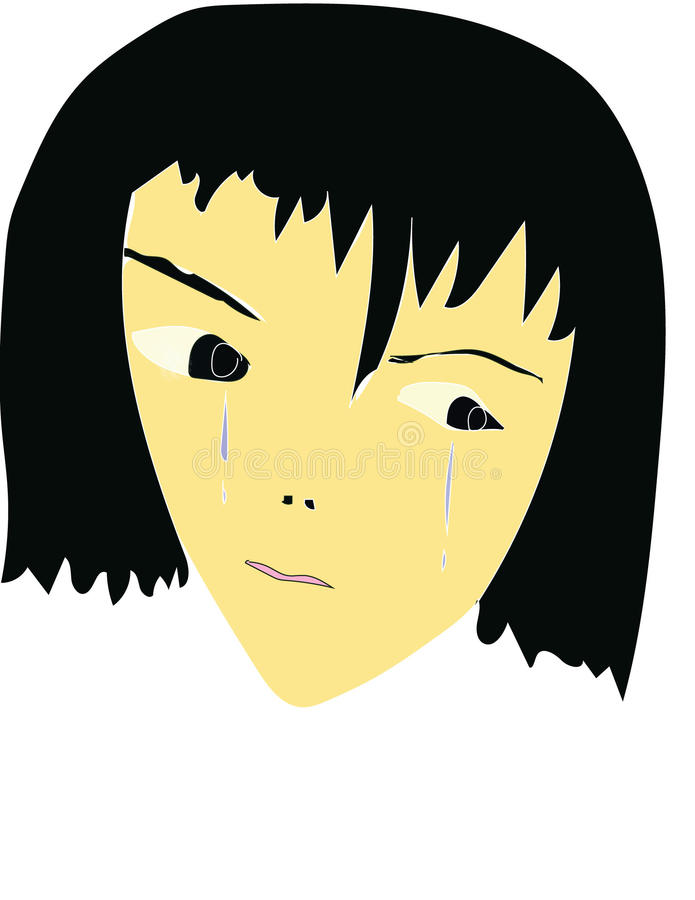 Crying face stock photo