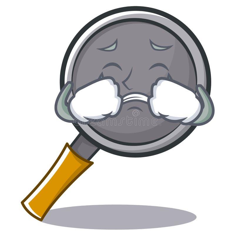 Crying frying pan cartoon character. Vector illustration royalty free illustration