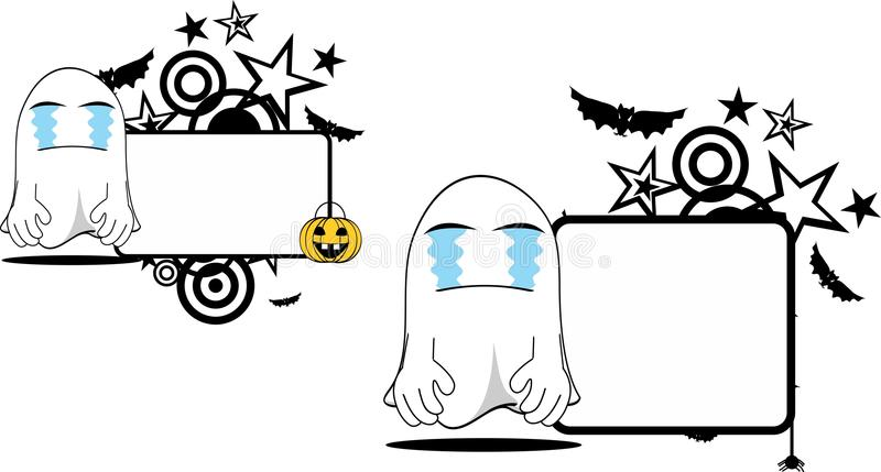 Crying ghost cartoon expression halloween copyspace set stock illustration