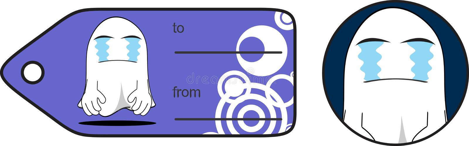 Crying ghost cartoon expression halloween giftcard royalty free illustration