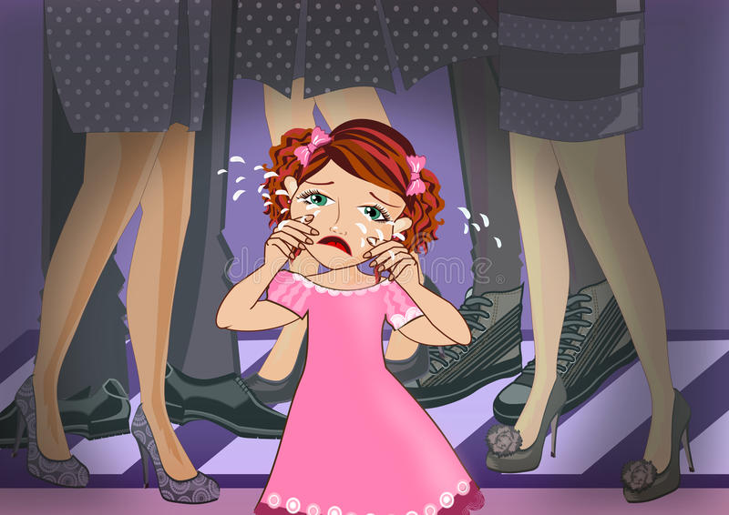 Crying girl. Little girl craying in the crowd illustrations