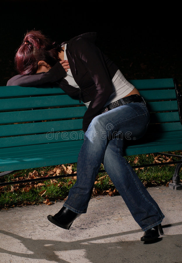 Download Crying Girl On A Park Bench 2 Stock Photo - Image: 1376566