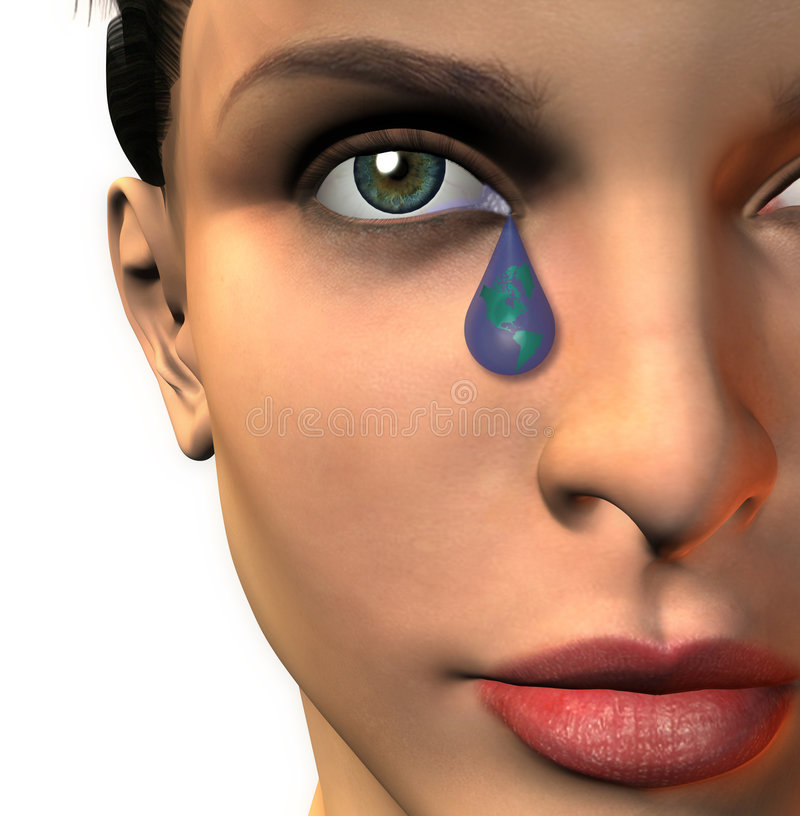 Crying A global tear royalty free illustration