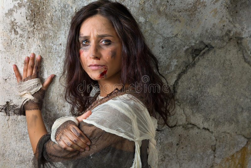 Crying homeless woman stock photography