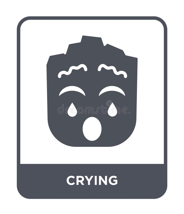 Crying icon in trendy design style. crying icon isolated on white background. crying vector icon simple and modern flat symbol for. Web site, mobile, logo, app vector illustration