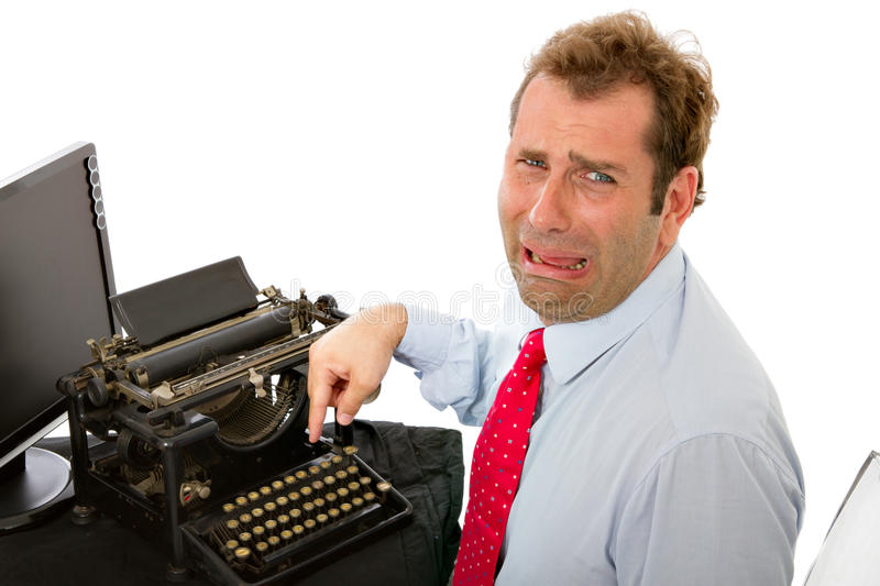 Crying man with modern technology stock image