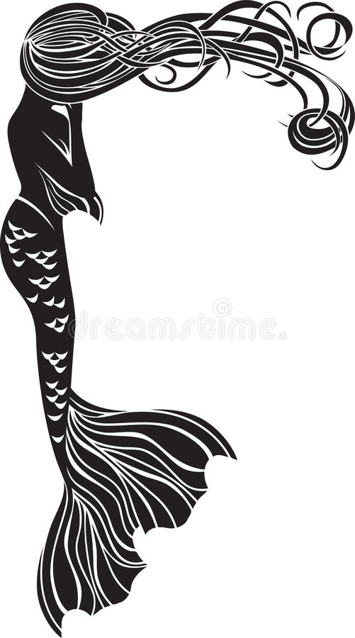 Crying Mermaid Stencil Royalty Free Stock Image