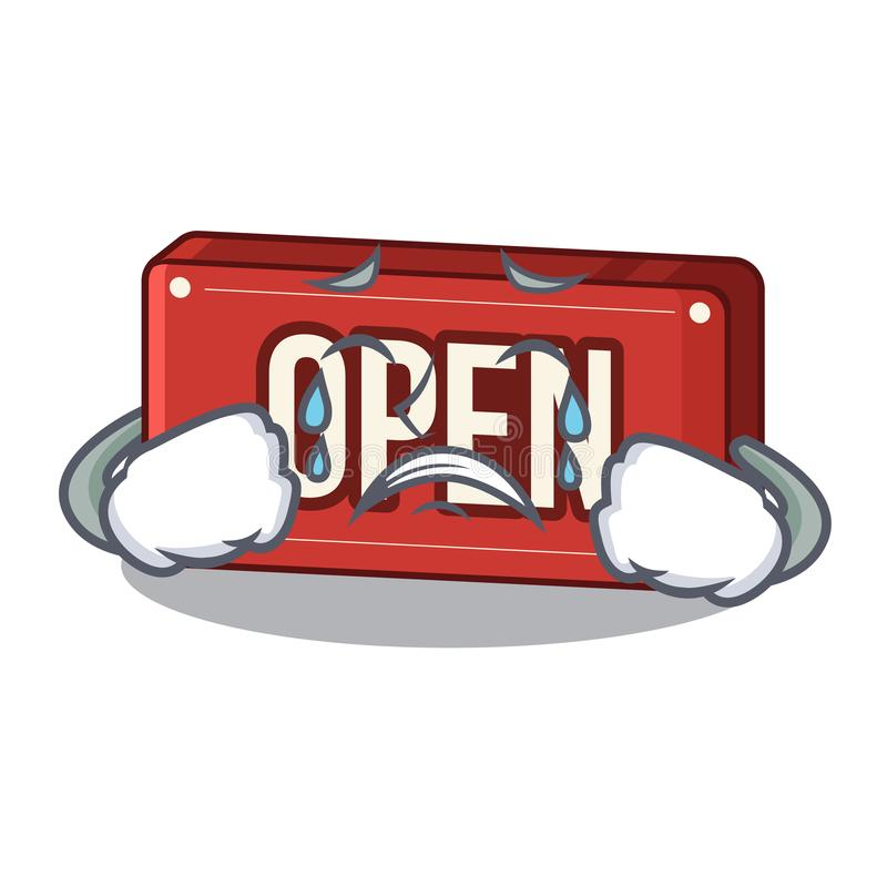 Crying open sign on the a charcter. Vector illustartion vector illustration