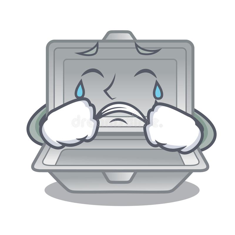 Crying open styrofoam in the character box. Vector illustration stock illustration