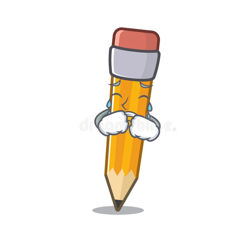 Crying pencil in the a cartoon bag. Vector illustration stock illustration