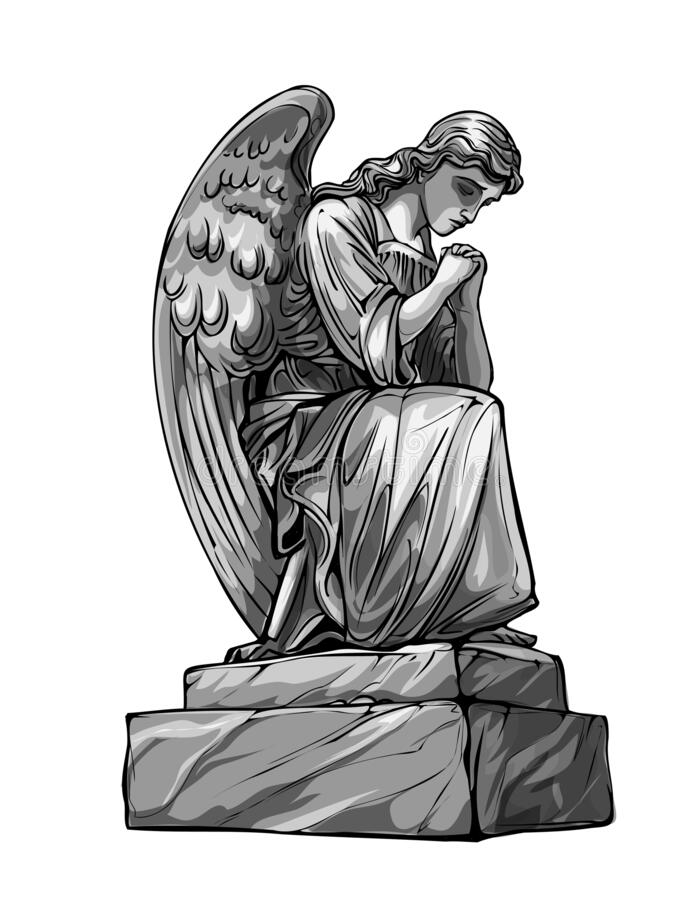 Free Crying Praying Angel Sculpture With Wings. Monochrome Illustration Of The Statue Of An Angel. Isolated. Vector Illustration Stock Image - 201248121