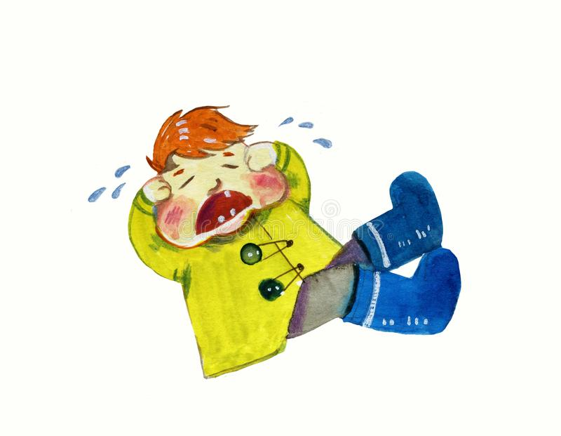 Crying redhead boy in yellow coat and blue boots - cartoon watercolor illustration stock illustration