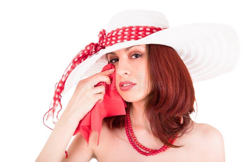 Crying retro stylish young woman stock photo