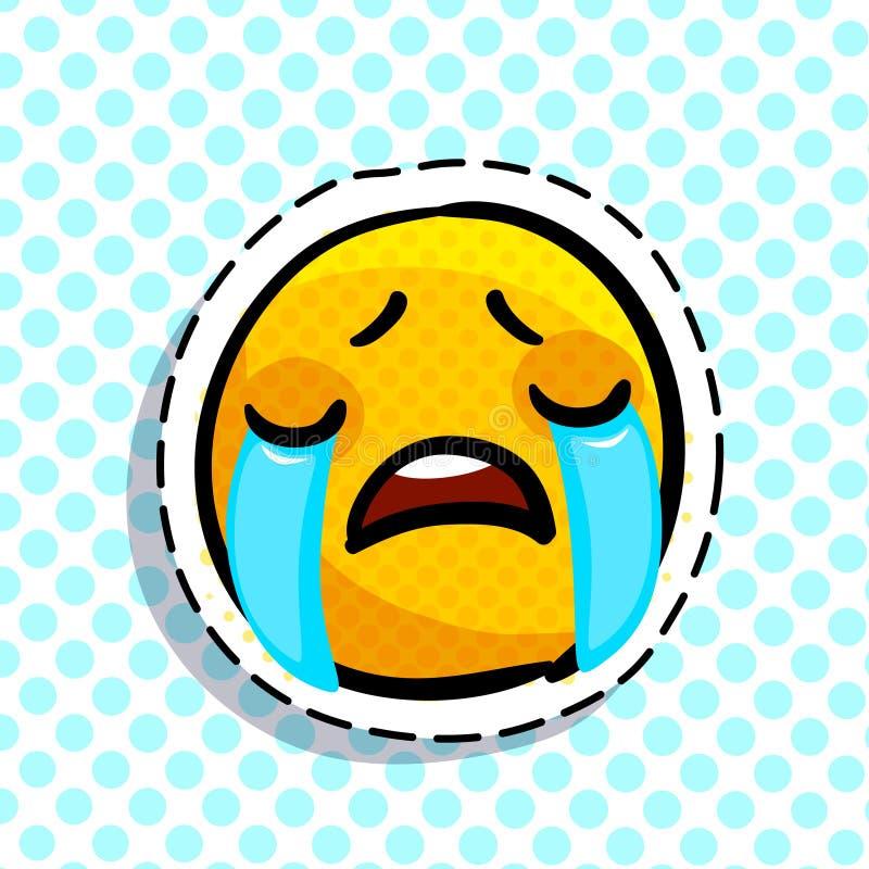 Crying sad emoticon stock illustration