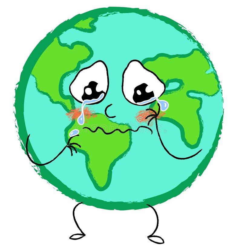 Crying sad planet earth vector illustration