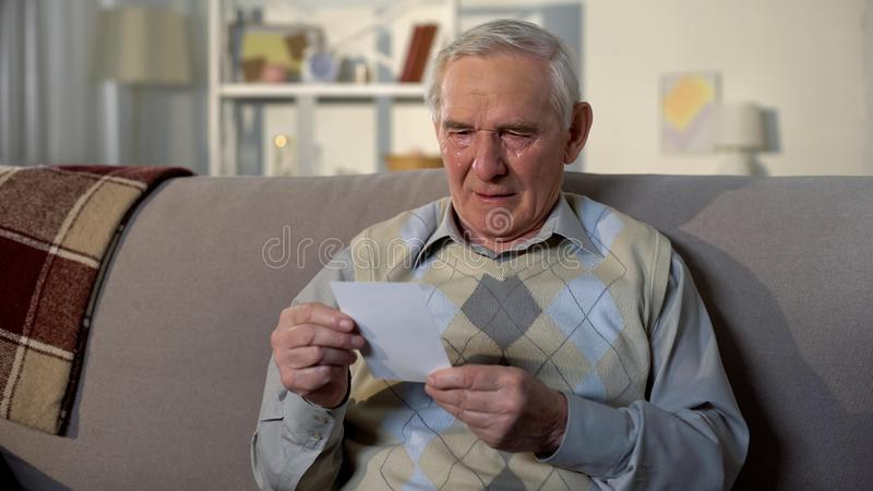 Crying senior widower holding photo, missing wife after funeral, nostalgia royalty free stock photography